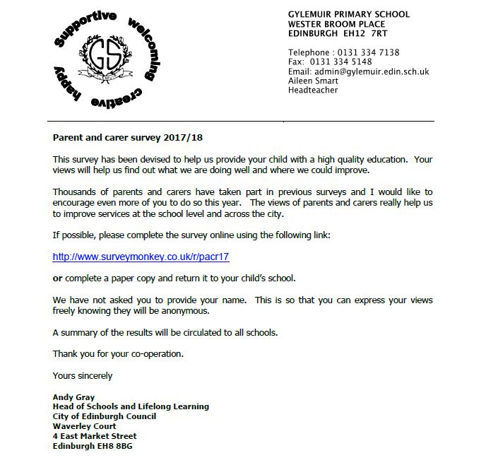 Parent survey letter