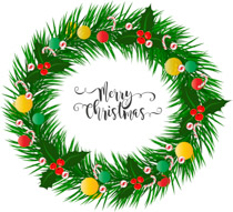 decorated green christmas wreath with merry christmas clipart